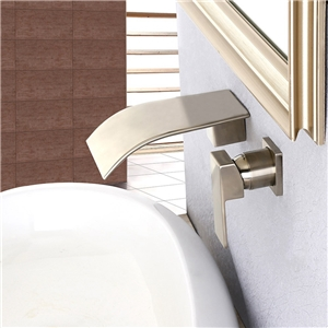Curved Waterfall Sink Faucet Wall Mount Brushed Nickel Bathroom Sink Tap