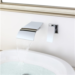 Wall Mount Chrome Sink Faucet Curved Waterfall Bathroom Sink Tap