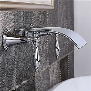 Curved Waterfall Sink Faucet Wall Mount Chrome Bathroom Sink Tap