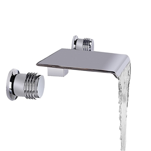 Brushed Nickel Flat Sink Faucet Waterfall Wall Mount Bathroom Sink Tap