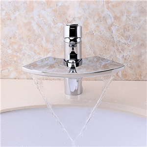 Glass Sector Sink Faucet Chrome Waterfall Bathroom Sink Tap