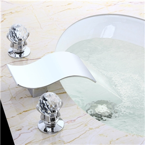 S Shape Chrome Sink Faucet Widespread Waterfall Bathroom Sink Tap