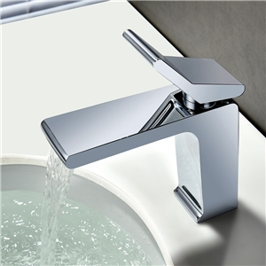 Chrome Flat Sink Faucet Waterfall Deck Mount Bathroom Sink Tap