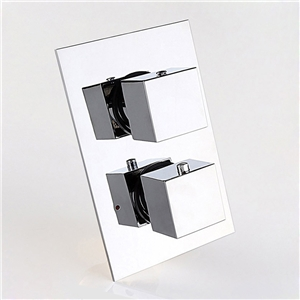 Thermostatic 2-Outlet Shower Valve Solid Brass Square Shower Valve