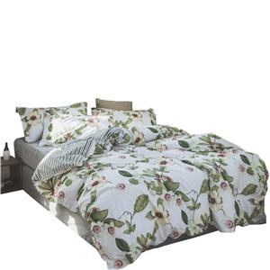 Camellia Flower Bedding Set Rural Pure Cotton Bedclothes 4pcs Duvet Cover Set