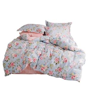Pink Flower Bedding Set Rural Pure Cotton Bedclothes 4pcs Duvet Cover Set