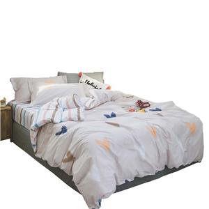 Heart Pattern Bedding Set Rural Pure Cotton Bedclothes Breathable 4pcs Duvet Cover Set