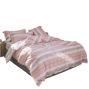 Rural Pink Stripes Bedding Set Pure Cotton Bedclothes Breathable 4pcs Duvet Cover Set