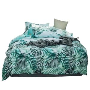 Green Leaf Bedding Set Pure Cotton Rural Bedclothes Breathable 4pcs Duvet Cover Set