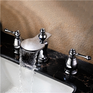 Classic Widespread Sink Faucet Brass Waterfall Bathroom Sink Tap
