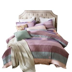Colorful Stripes Bedding Set Modern Soft Bedclothes Pure Cotton 4pcs Duvet Cover Set