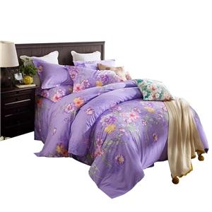 Modern Purple Bedding Set Floral Soft Bedclothes Pure Cotton 4pcs Duvet Cover Set