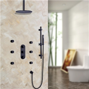 Luxury Thermostatic Shower Faucet Solid Black Rain Shower System with Ceiling Mount Shower Head