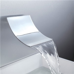 Contemporary Curved Tub Faucet Waterfall Wall Mount Bathtub Tap