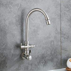 Modern Stainless Steel Faucet Wall Mount Swivel Tap with Washer Interface