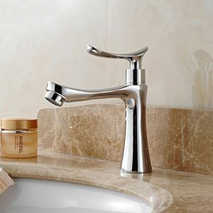 Special Chrome Basin Faucet Deck Mount Sink Tap with Outward Spout