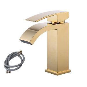Gold Waterfall Faucet Modern Widespread Basin Tap