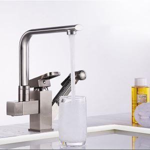 Unique Brushed Nickel Faucet Double Spouts Tap