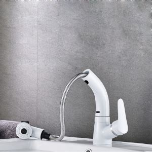 White Liftable Basin Faucet Pull-out Sink Tap
