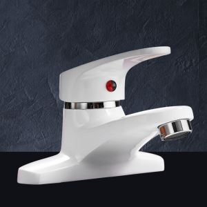 Short White Basin Faucet Modern Sink Tap