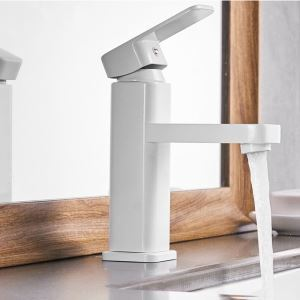 Straight White Basin Faucet Modern Sink Tap