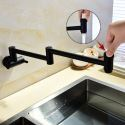 Contemporary Foldable Kitchen Faucet Black Wall Mount Kitchen Tap