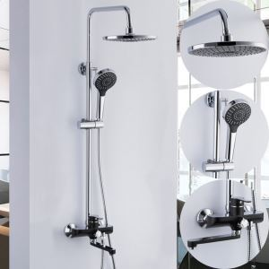 Wall Mount Shower System Modern Exposed Shower Faucet with Black Spout