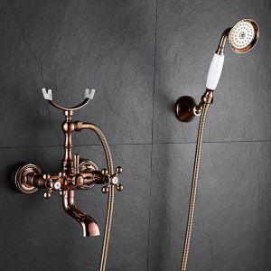 Rose Gold Shower System Modern Shower Faucet with Handheld Shower