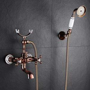 Rose Gold Shower Faucet Wall Mount Handheld Shower Faucet with Curved Spout