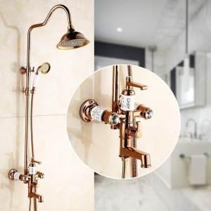 Rose Gold Shower System Modern Exposed Shower Faucet