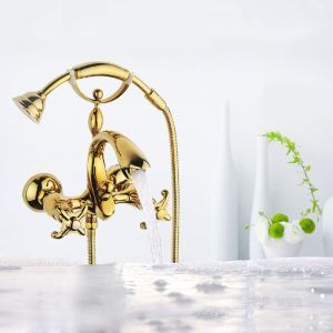 Gold Shower Faucet Wall Mount Handheld Shower Faucet with Curved Spout