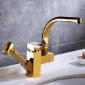 Luxurious Gold Basin Faucet Modern Sink Tap with Double Spouts