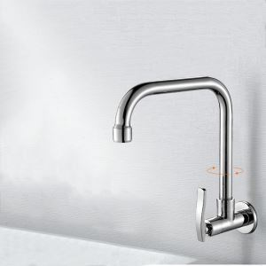 Contemporary Chrome Kitchen Tap Wall Mount Kitchen Faucet