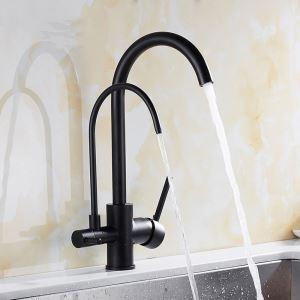 Black Kitchen Faucet Modern Kitchen Tap with Double Spouts and Purification Function