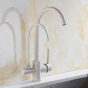 Oat Color Kitchen Faucet Modern Kitchen Tap with Double Spouts and Purification Function