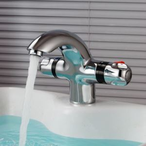 Chrome Thermostatic Basin Faucet Modern Sink Tap