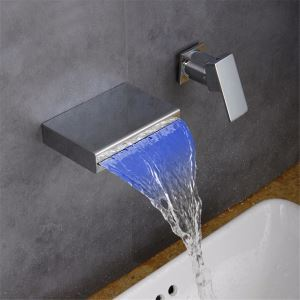 Brick Shape LED Basin Faucet Waterfall Chrome Sink Tap