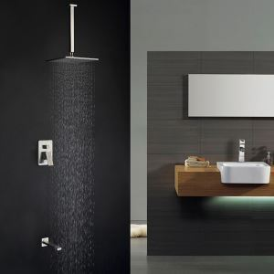 Simple Square Shower Faucet Durable Brass Shower System with Ceiling Rain Shower