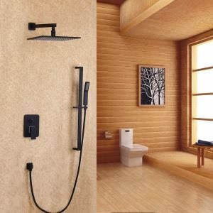 Black In-wall Shower System Wall-Mount Rain Shower Faucet with Slide Bar