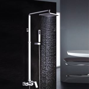 Modern Chrome Shower System Exposed Square Shower Faucet