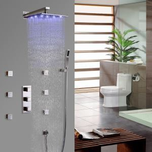 Luxurious LED Shower Faucet Square Rain Shower System with Hand Shower and Body Sprays in Brushed Nickel