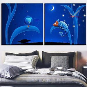"12""-24"" Modern Style ET Theme Wall Clock in Canvas 2pcs"
