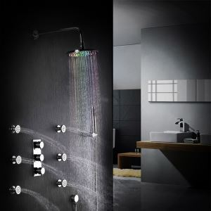 LED Rain Shower System Modern Wall Mount Shower Faucet with Body Sprays