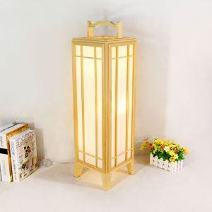 Slender Cuboid Table Lamp Japanese Creative Floor Lamp Modern Wooden Decorative Lantern