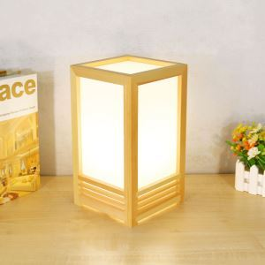 Japanese Square Table Lamp Creative Wooden Table Lamp Bedside Study Decorative Table Light