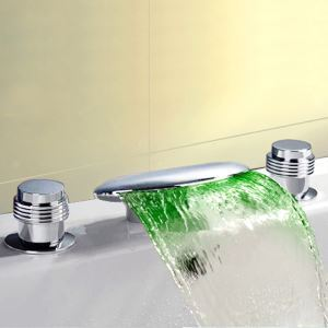 Flat Widespread LED Tub Faucet Chrome Waterfall Bathtub Tap