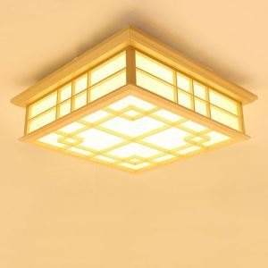 Burlywood LED Ceiling Light Japanese Wooden Ceiling Light Hotel Living Room Bedroom Study Lighting