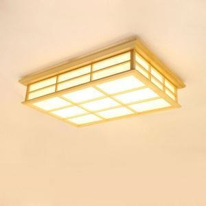 Japanese Cuboid LED Ceiling Light Solid Wood Ceiling Light Bedroom Living Room Study Lighting