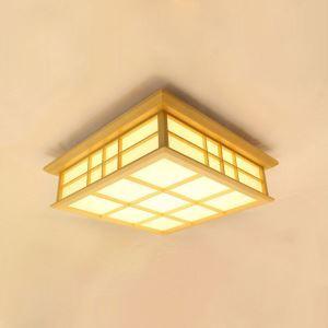 Wooden Check LED Ceiling Light Japanese Ceiling Light Living Room Bedroom Study Lighting