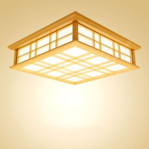 Japanese Square LED Ceiling Light Wooden Simple Ceiling Light Bedroom Living Room Study Lighting